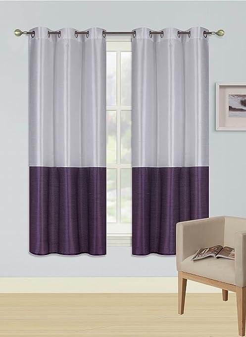 2PC ORANGE WHITE EID 2 SHADES Insulated Blackout Window Curtain Panels