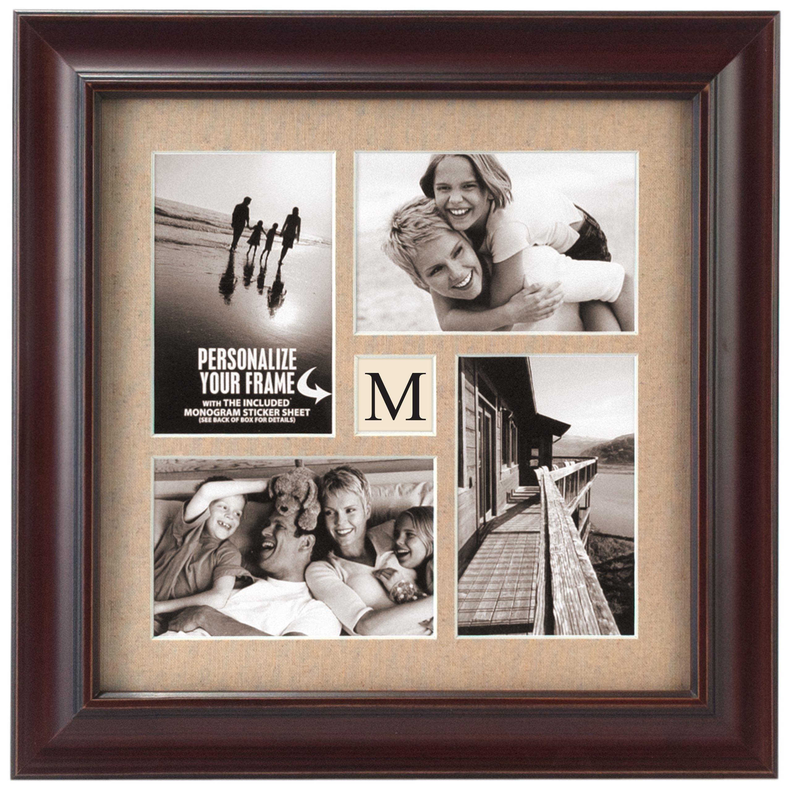 Malden International Designs Barnside Portrait Gallery Personalized Textured Mat Picture Frame, 4 Option, 4-4x6, Walnut by Malden International Designs