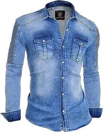 D&R Fashion Camisa Vaquera Hombre Lavado Acanalado Elástico