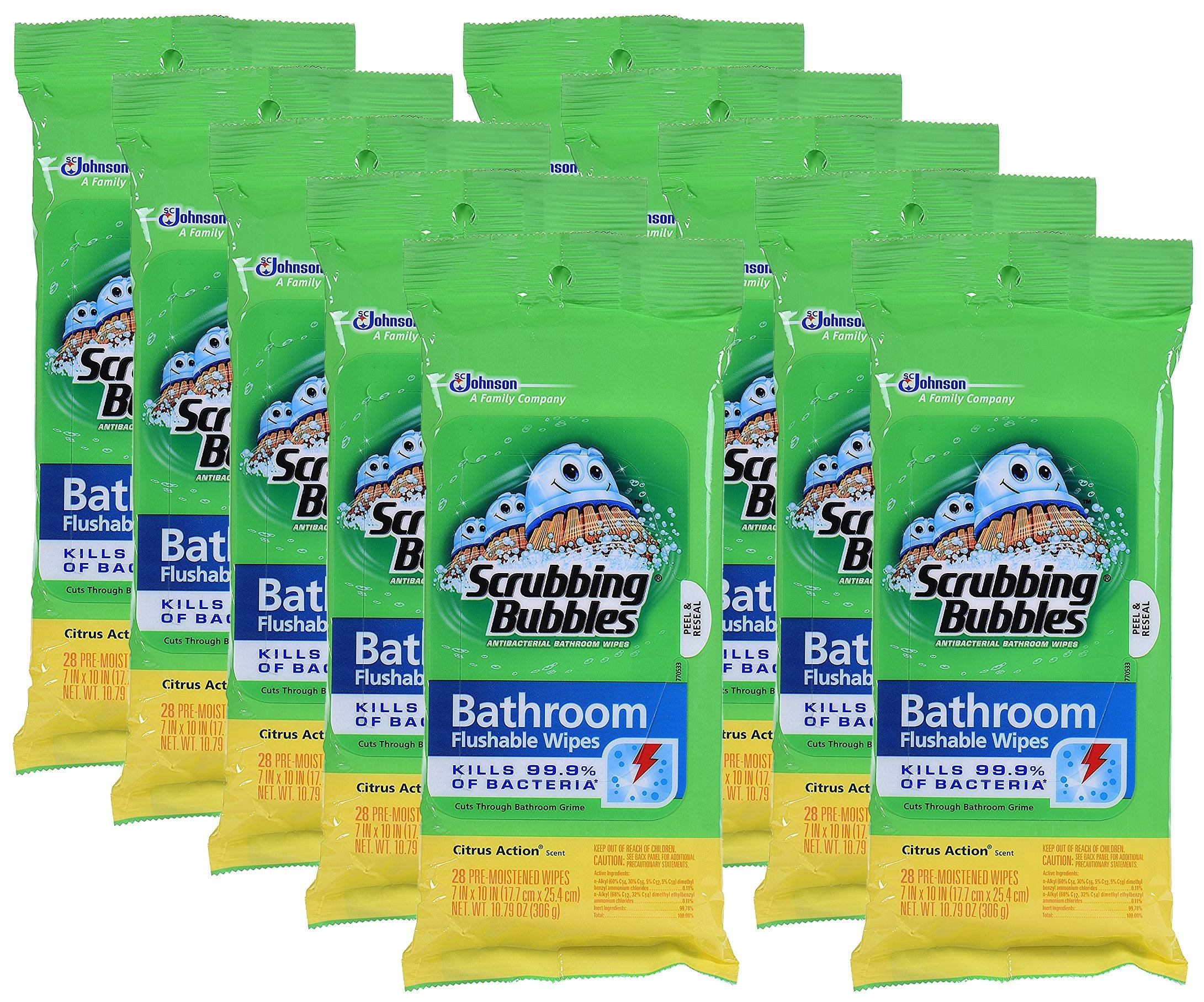 Scrubbing Bubbles Antibacterial Bathroom Flushable Wipes stRHH, 28 Count, 10Pack by Scrubbing Bubbles (Image #1)