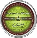 Earthly Body Round Massage Oil Moisturizer  Candle, Naked In The Woods, 6 ounces Tin