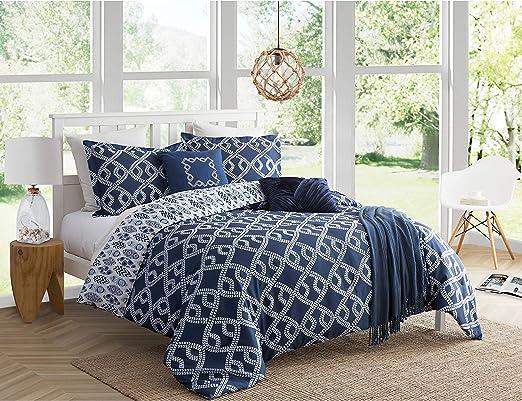 Coastal Navy Blue Red White Plaid 5 Pc King Size Comforter Sham Pillow Bedding
