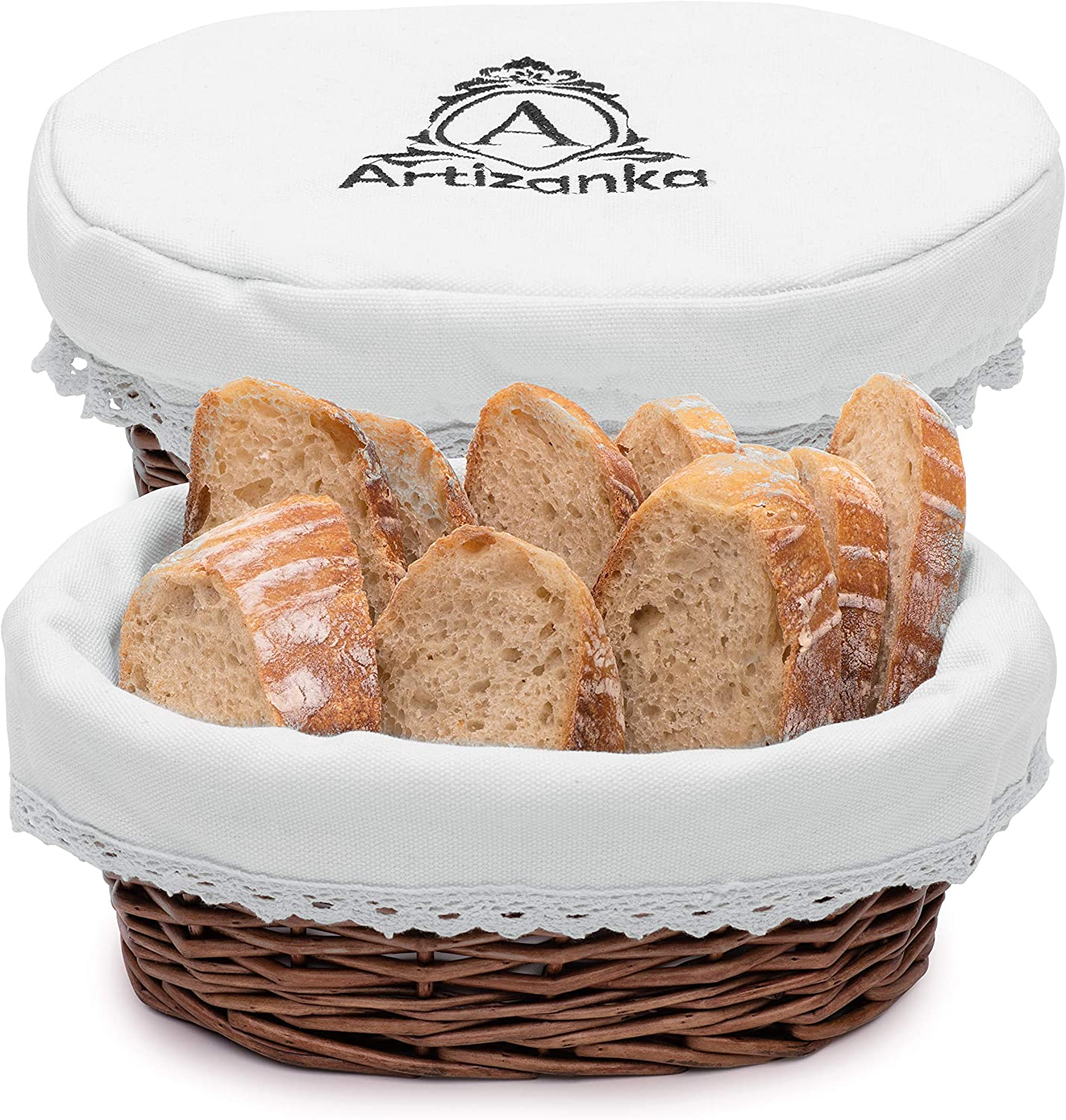 """Artizanka Bread Basket for Serving Set - 11"""" Wicker Basket with Removable Liner and Cover, Bread Basket Warmer and Bread Serving Basket for Homemade Sourdough Bread or Rolls. Fruit and Pantry Basket."""