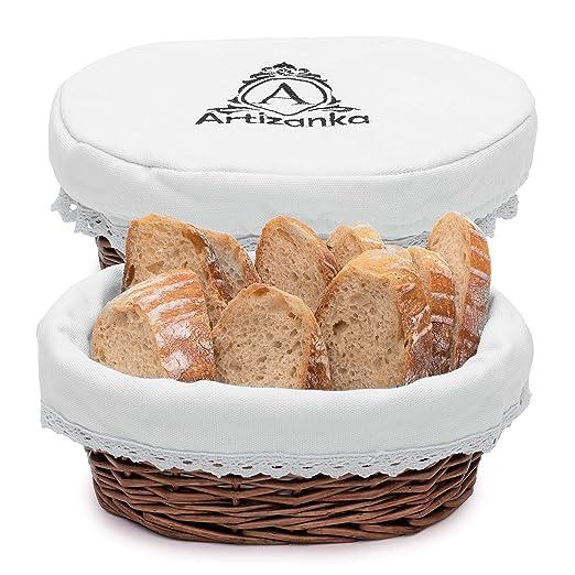 Artizanka - Juego de cestas para servir pan, cesta de mimbre de 11 ...
