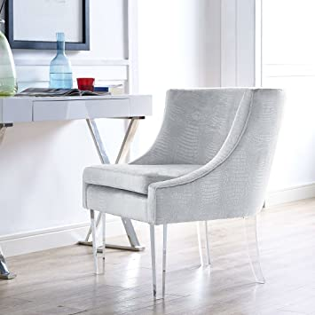 TOV Furniture Myra Collection Contemporary Velvet Upholstered Living Room  Textured Chair, With Acrylic Legs,