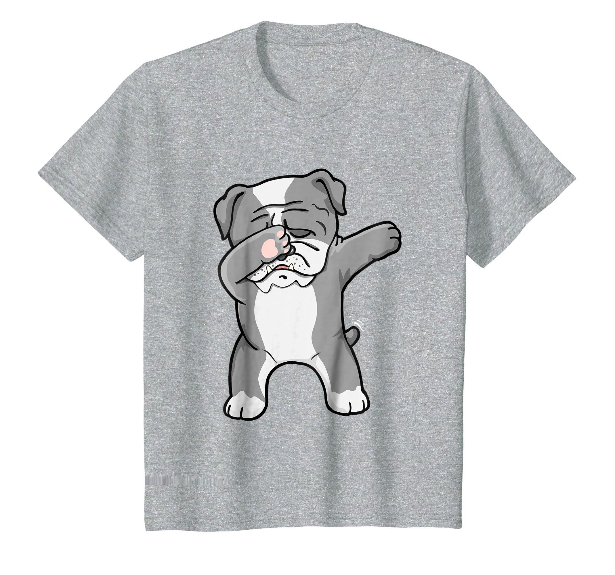 Kids Dab Bulldog Dabbing Dog Lover Tshirt 10 Heather Grey