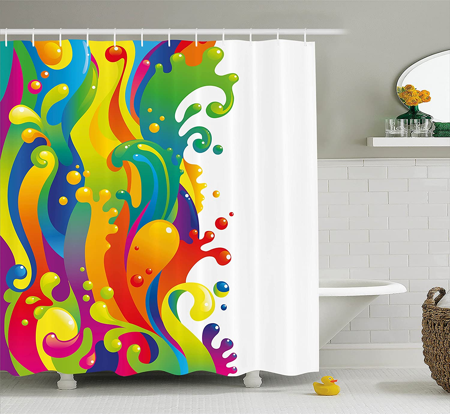 Ambesonne Psychedelic Shower Curtain, Digital Made Fluid Rainbow Color on