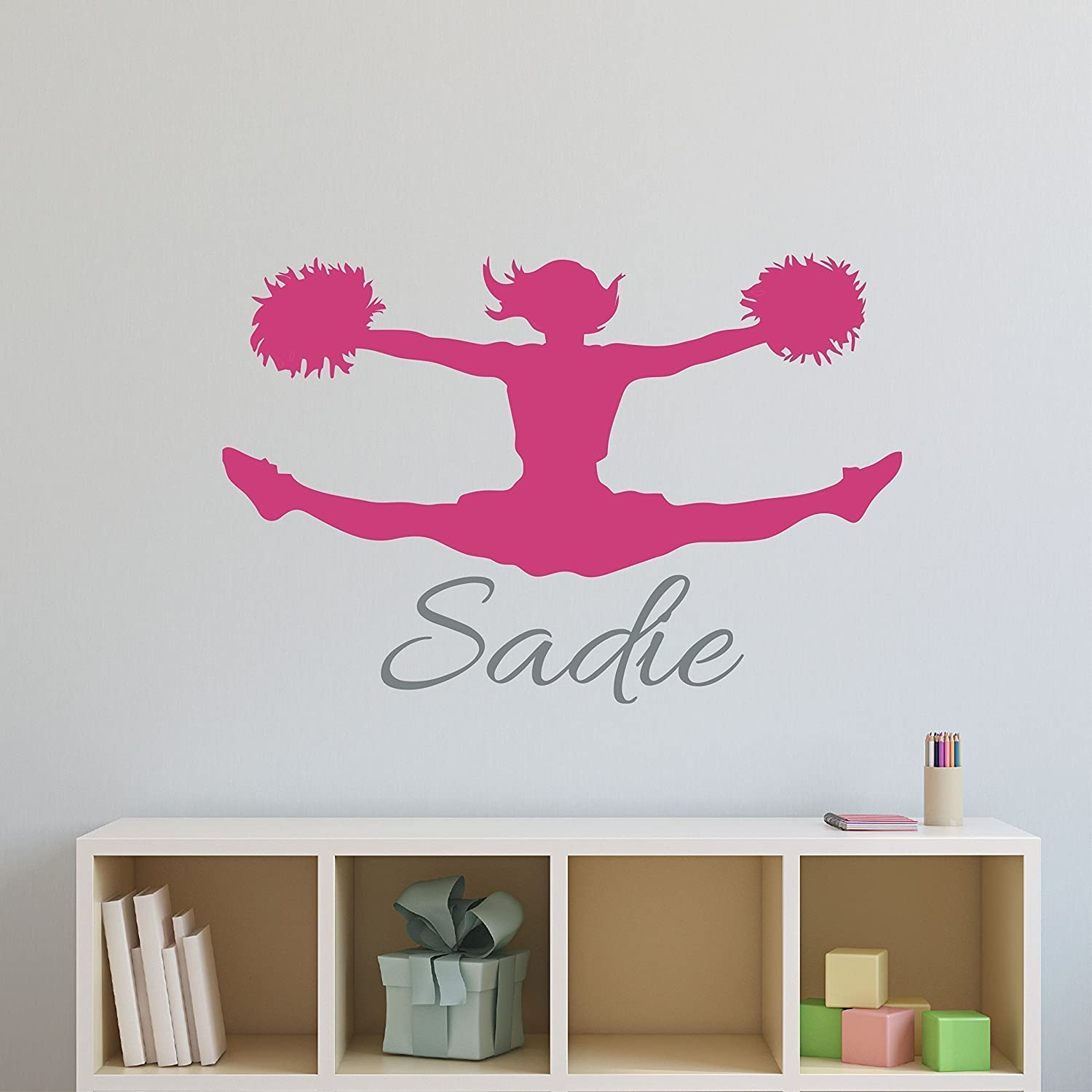 Amazoncom Custom Name Cheerleader Wall Decal  Girls Personalized Name