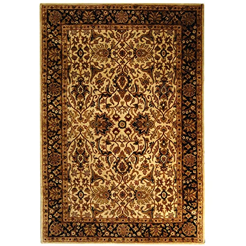 Safavieh Persian Legend Collection PL523D Handmade Traditional Ivory and Black Wool Area Rug 5 x 8