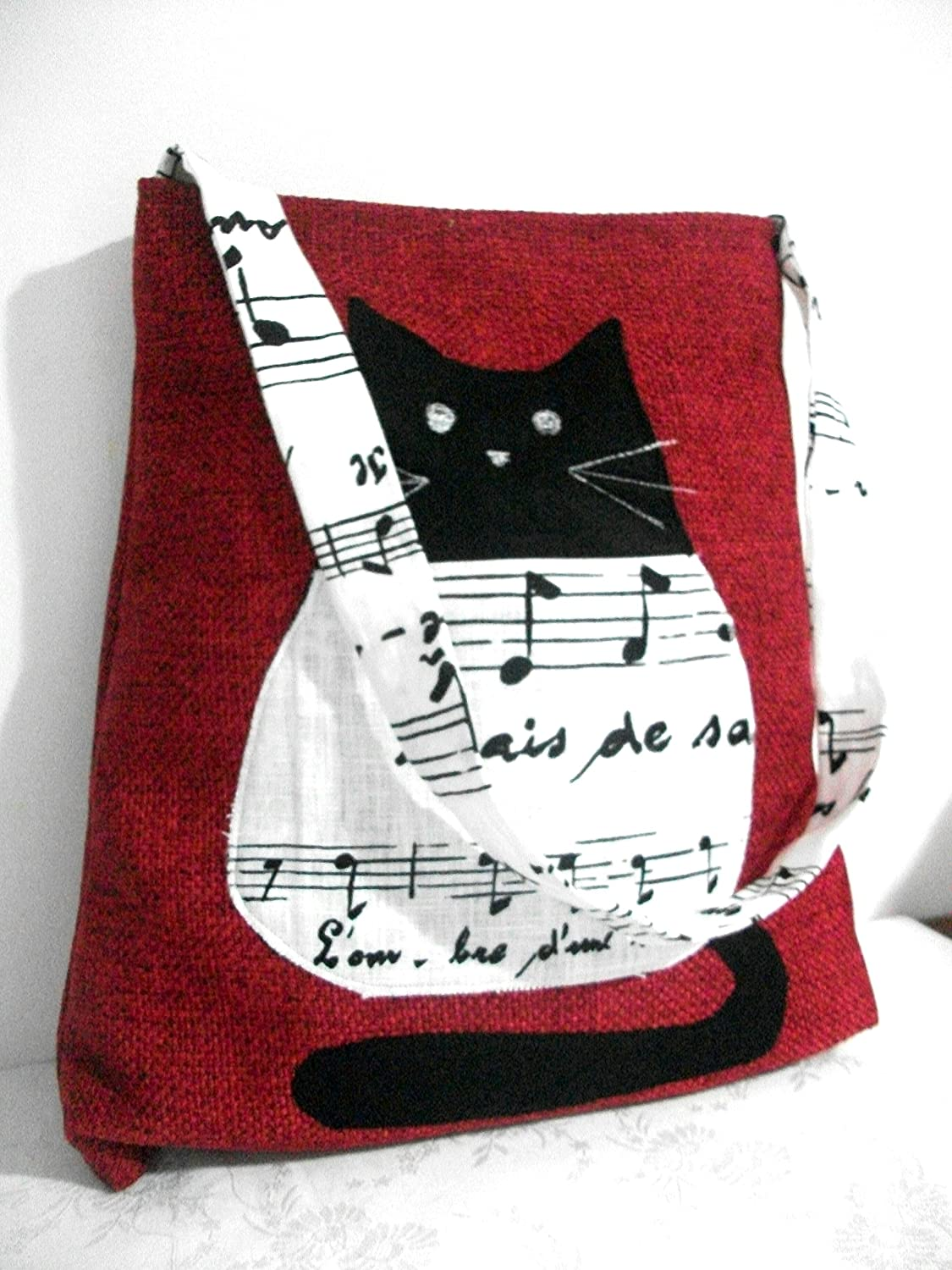 Red and Black cat lovers Shoulder handbag, Tapestry and linen - handmade in italy
