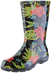 Sloggers Women'sWaterproof Rain and Garden Boot with Comfort Insole, Midsummer Black, Size 8, Style 5002BK08