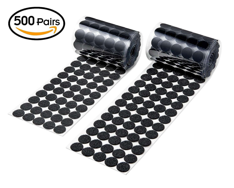Black//3//4//500pairs 500 Pair Sets 20mm Diameter Sticky Back Coins Hook /& Loop Self Adhesive Dots Tapes Vkey
