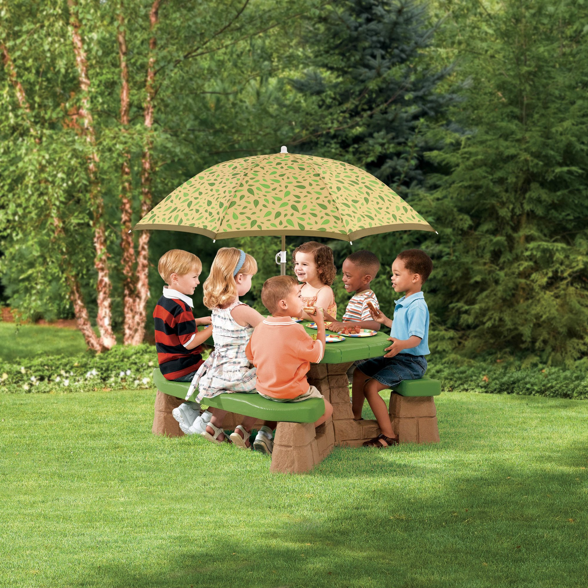 Naturally Playful Picnic Table with 60-inch Umbrella, 3 Years Up, Table Top, 2 Wide Benches, Toddler, Playset, Kids Furntiure, Bundle with Our Expert Guide with Tips for Home Arrangement by AB-Land (Image #1)
