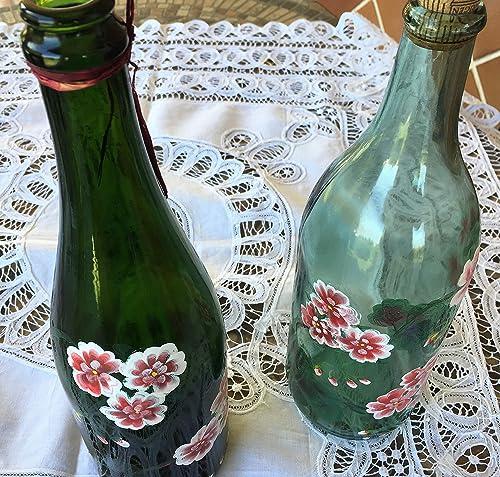 MaJe ceramista 2 botellas decoradas flores rosas geranios blanca y ...