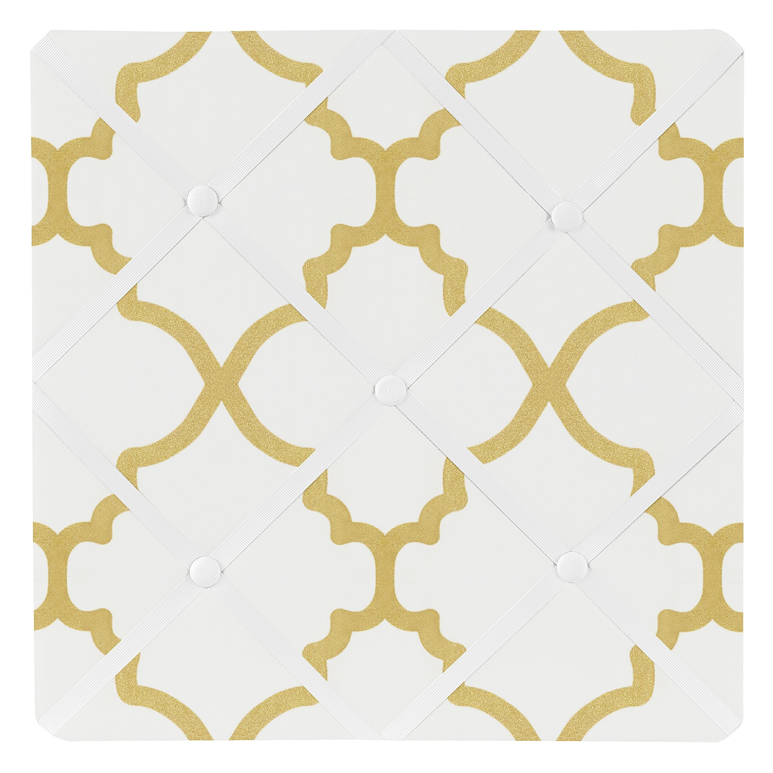 Sweet Jojo Designs White and Gold Trellis Print Lattice Fabric Memory/Memo Photo Bulletin Board