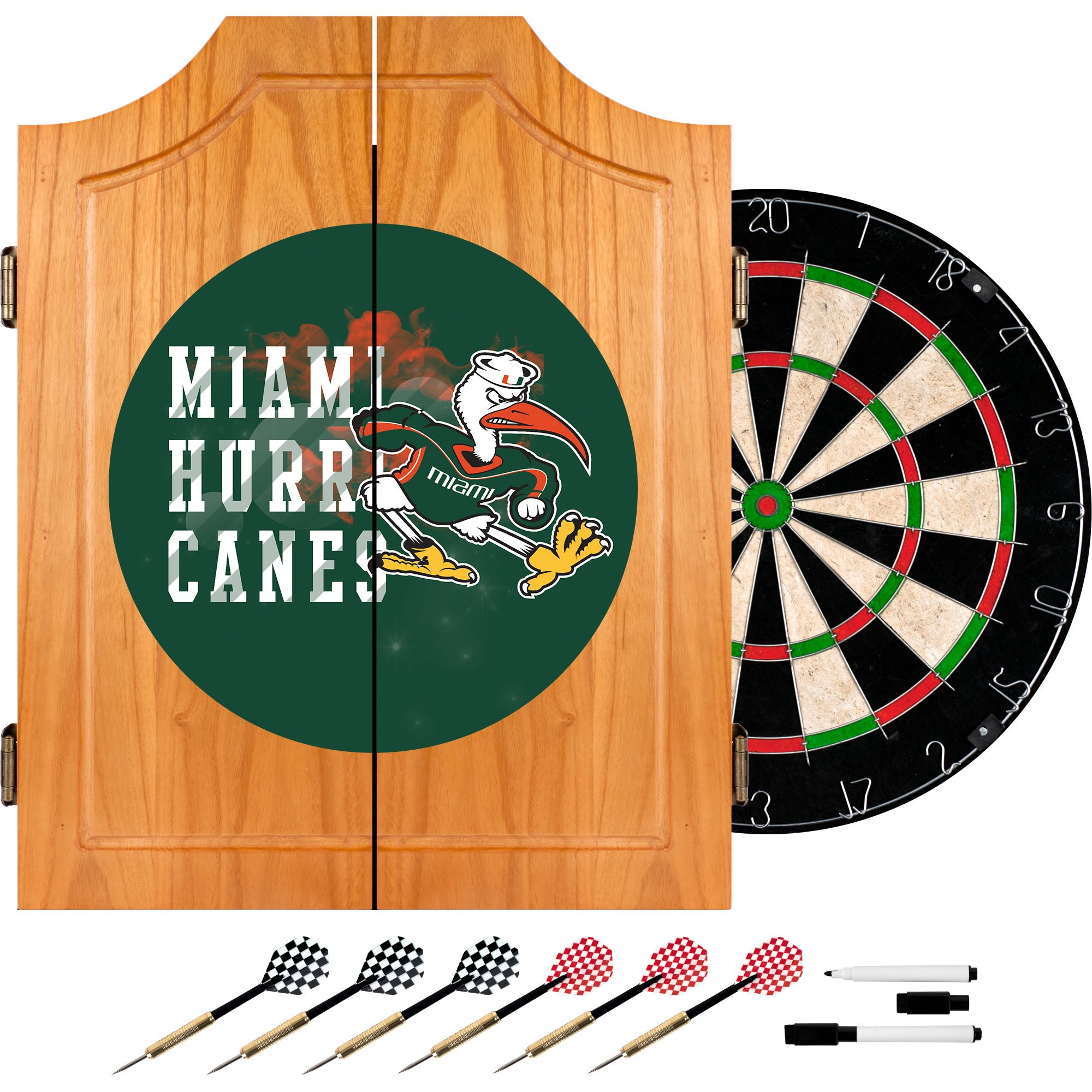 Trademark Gameroom University of Miami Sebastian Wood Dart Cabinet Set - Smoke by Trademark Gameroom