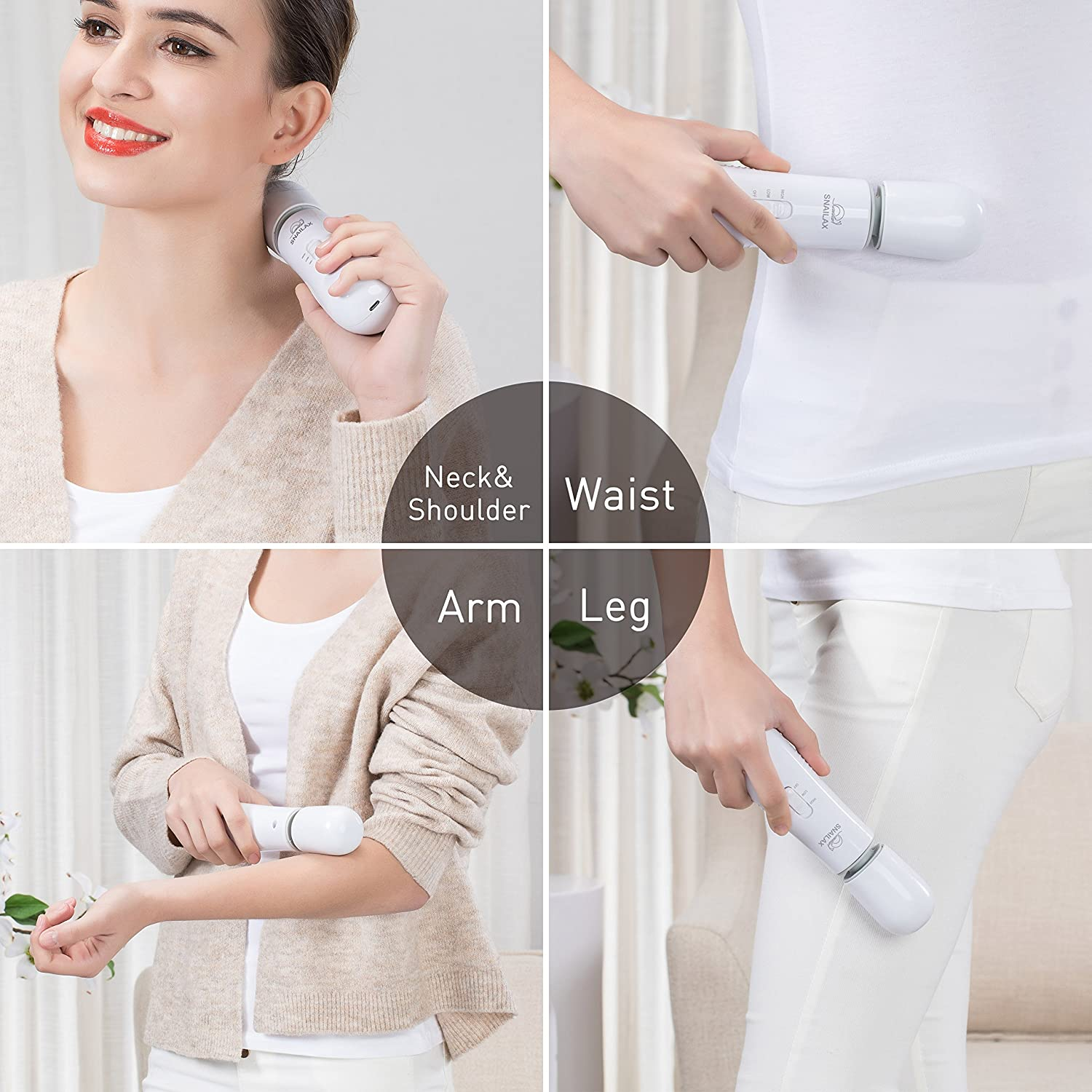 Cordless Wand Massager Handheld Massager for Neck and Back with 2 Vibration Speed Controller 3 Heads USB Rechargeable Personal Body Massager for Muscles Relief