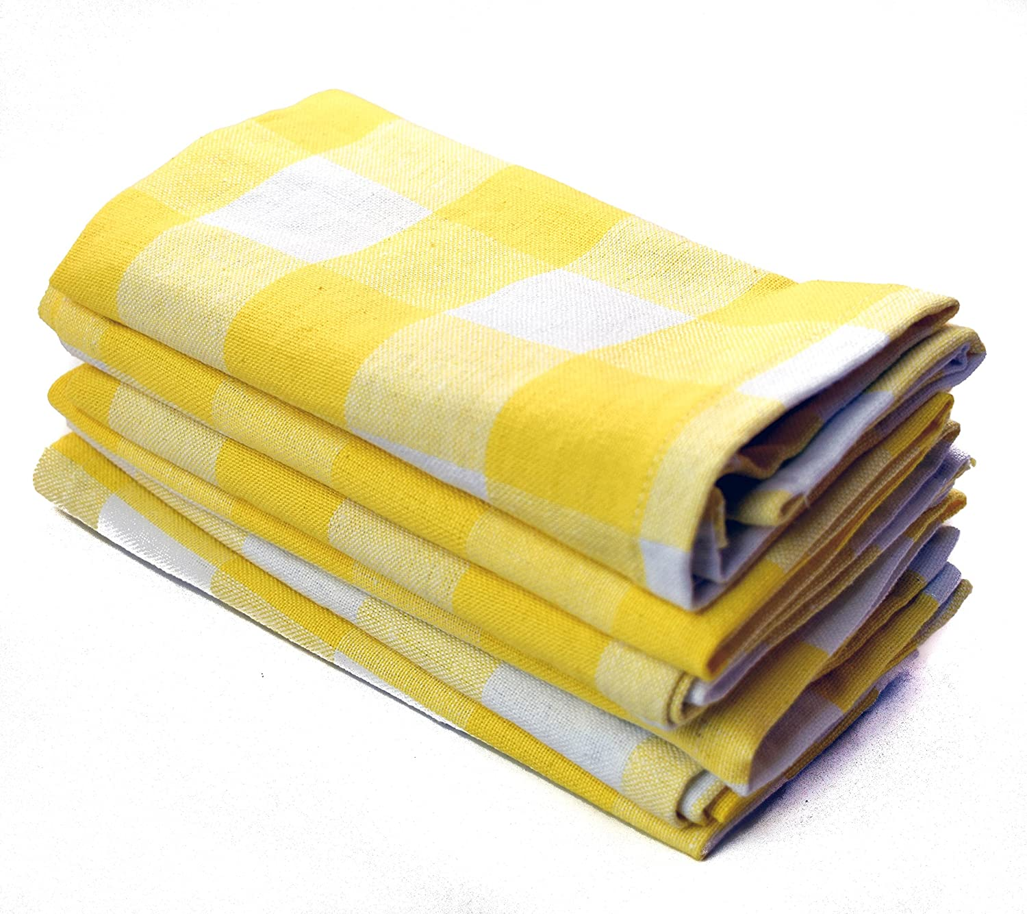 (Yellow Checked) - Lighthouse Chequered Cloth Napkins 36cm x 14