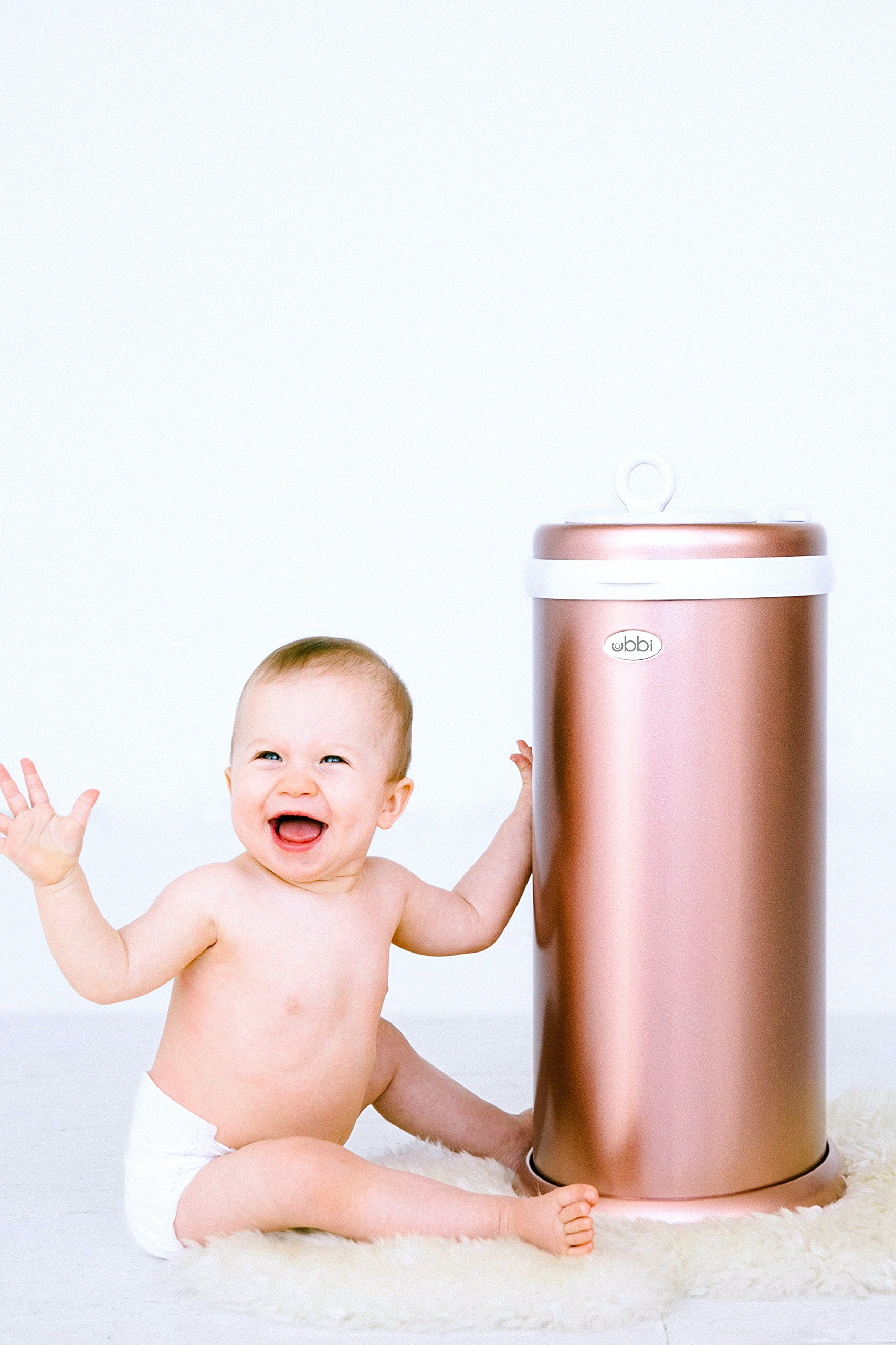 Ubbi Limited Edition, Money Saving, No Special Bag Required, Steel Odor Locking Diaper Pail, Rose Gold by Ubbi (Image #4)