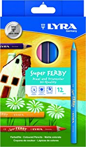 LYRA Super Ferby Giant Triangular Colored Pencil, Lacquered, 6.25mm Lead Core, Set of 12 Pencils, Assorted Colors (3721120)