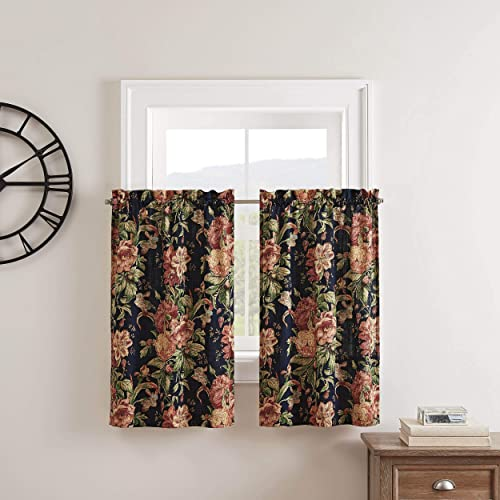 Waverly Kensington Bloom Small Panel Tiers Privacy Window Treatment Pair Bathroom, Living Room, 52 x 36 , Gem