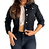 Shocknshop Full Sleeves Comfort Fit Regular Black Denim Turn-Down Jacket for Women (JKT13)