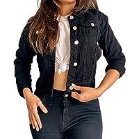 Shocknshop Full Sleeves Comfort Fit Regular Black Denim Turn-Down Jacket for Women (JKT13)