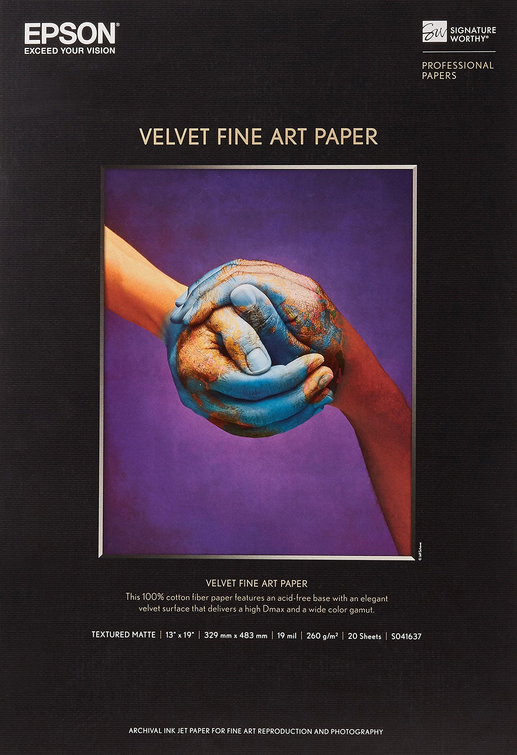 Epson S041637 Velvet Fine Art Paper, 13 x 19, White (Pack of 20 Sheets)