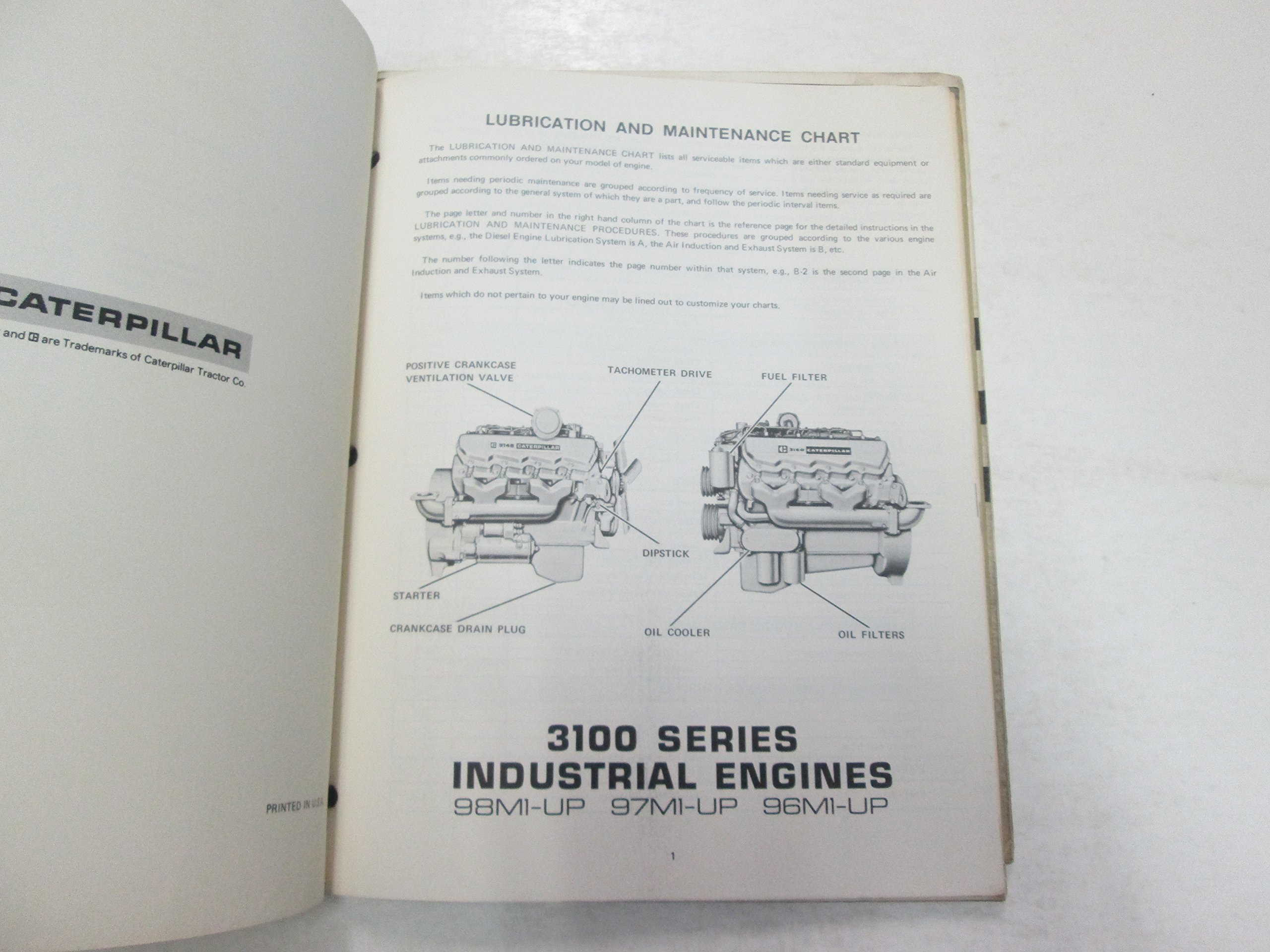 Caterpillar 3100 Series Industrial Engines Operation Guide Manual Engine Diagram Stained Worn Tractor Books
