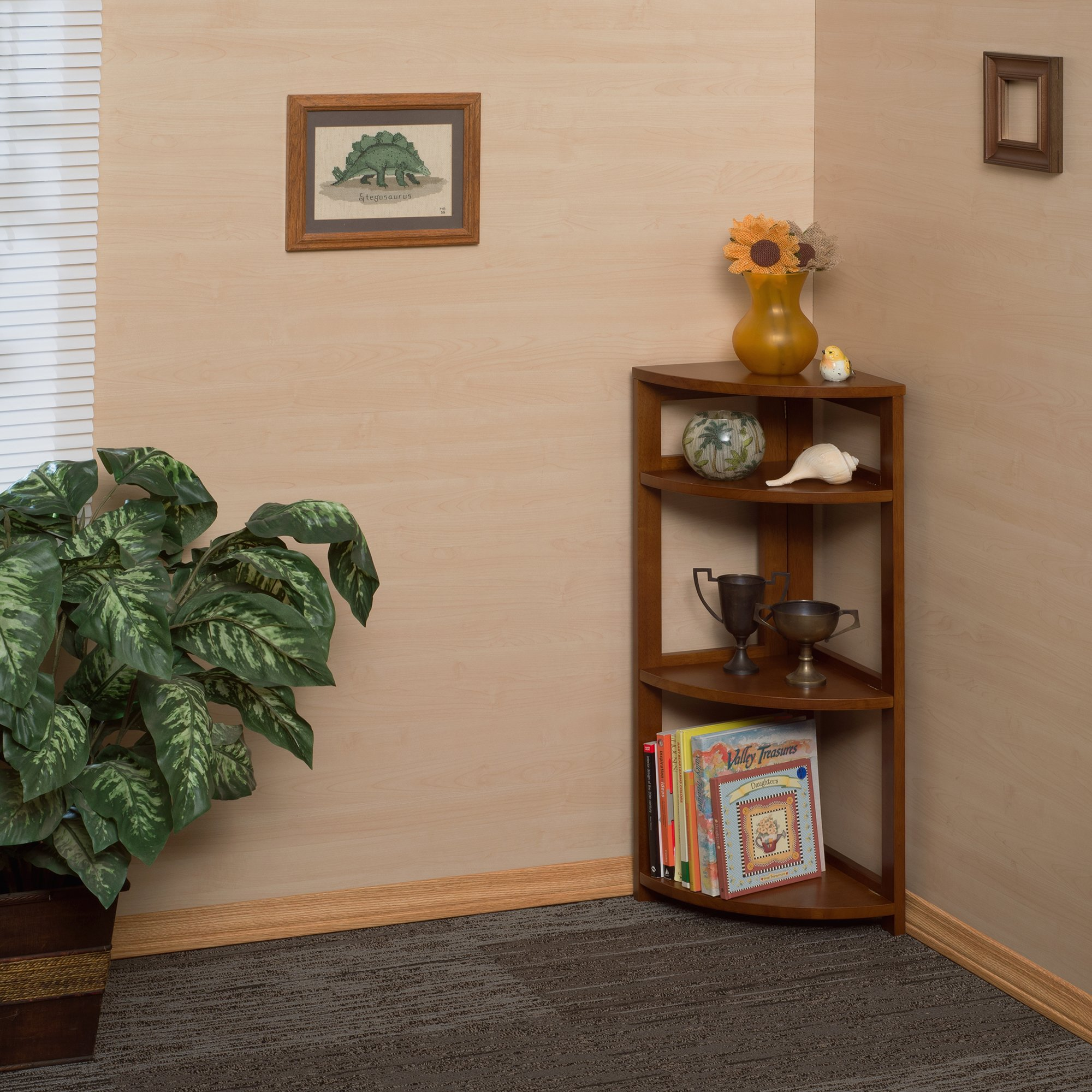 Regency Flip Flop 34-inch High Corner Folding Bookcase- Cherry by Regency (Image #2)