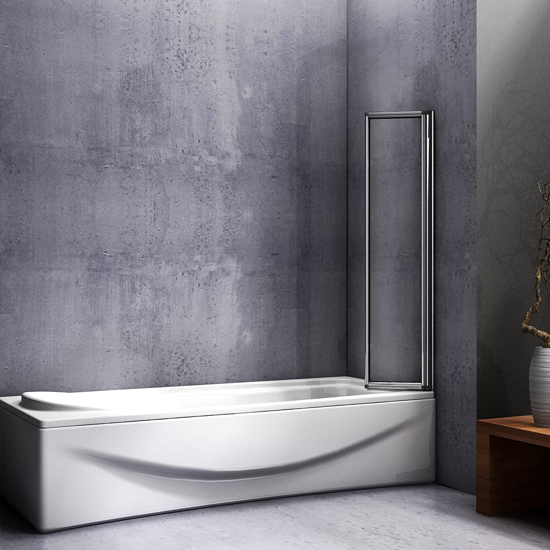 Mampara de ducha de 120 x 140 cm para bañera, 5 partes retráctiles ...