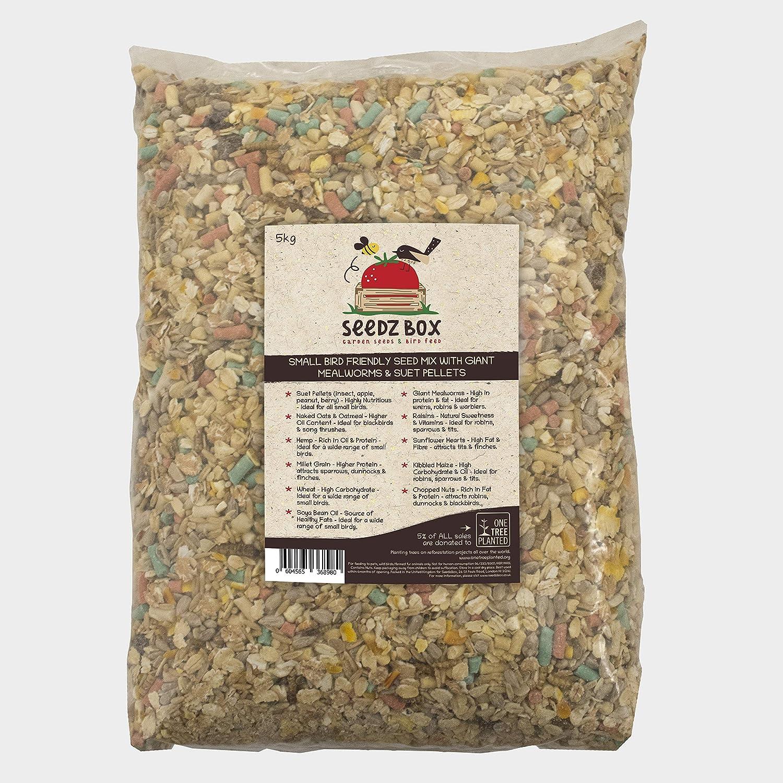 Seedzbox Mezcla de Semillas para Aves Silvestres, Comida pájaros Salvajes. Proteína y Fibra: maíz, Trigo, pasas. Atrae herrerillos, mirlos, petirrojos y más. 5kg