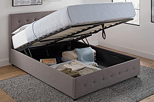 DHP Cambridge Upholstered Linen Platform Bed with Wooden Slat Support and Under Bed Storage, Button Tufted Headboard, Queen Size – Grey