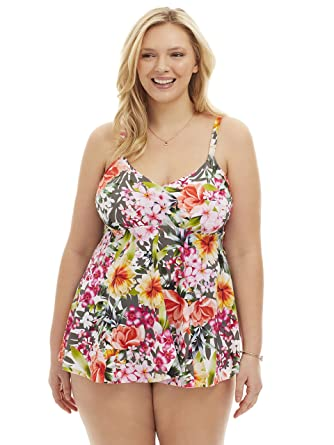 f3ddde00bb5 Always For Me Women's Plus Size Tropic Underwire Tankini Top - Ladies'  Bathing Suit & Swimwear at Amazon Women's Clothing store: