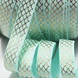 """Midi Ribbon Gold Mermaid Scale Designs Print Stretch Foldover Elastic 5/8"""" X 10 Yards/Pack DIY Crafts Ponytail Holder Headband Hair Tie Gift Scrapbooking Party Deco Supplies-Aqua Color"""