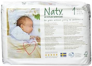Naty By Nature Babycare Couches écologiques Pour Bébé Taille 1 Nouveau Né2 5 Kg Lot De 2