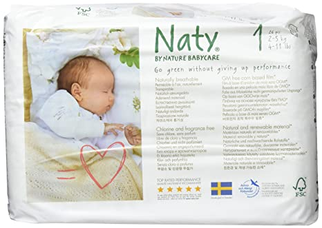 6cdb6cea20c Naty by Nature Babycare Newborn Size 1 ECO Nappies - 2 x Packs of 26 ...