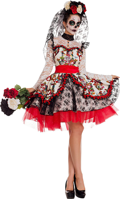The Dead Bride Day of the Dead La Novia Muerta Wedding Dress w// Face Tattoos