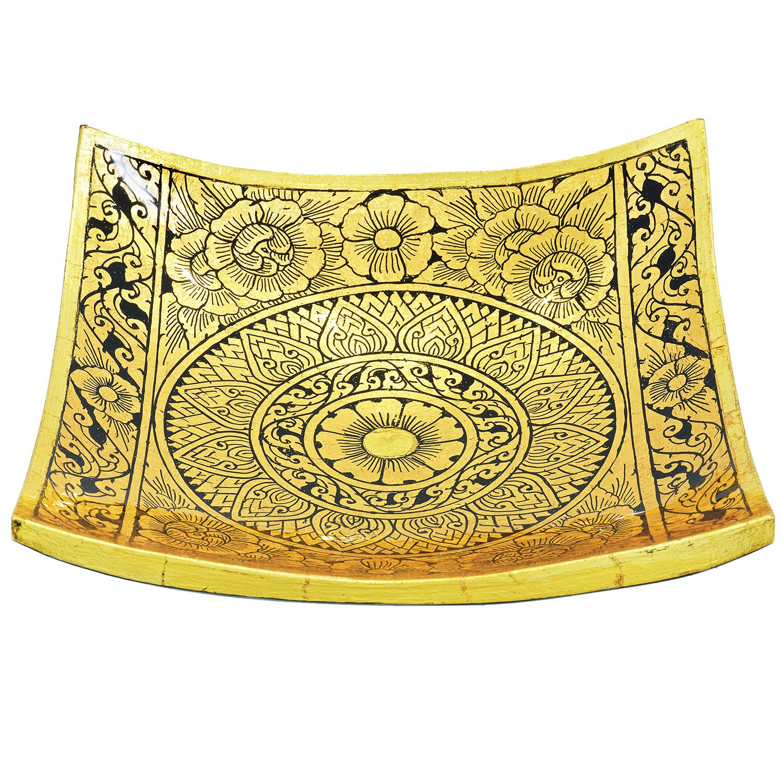 Amazon.com: Suwandara Decorative Mango Wood Lacquerware Platter 8 ...