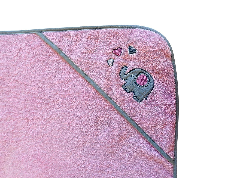 dise/ño de elefantes 100 x 100 cm color rosa y gris Toalla con capucha Slumbersac