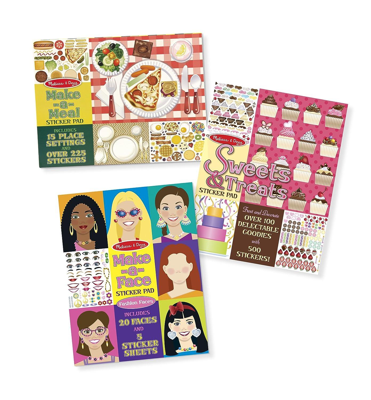 Melissa Doug Sticker Pads Set Sweets and Treats Make a Face Fashion and Make a Meal
