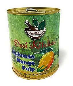 Desi Kitchen Mango Pulps Delicious flavor By Rani Foods Inc (Alphonso Mango Pulp 30oz)