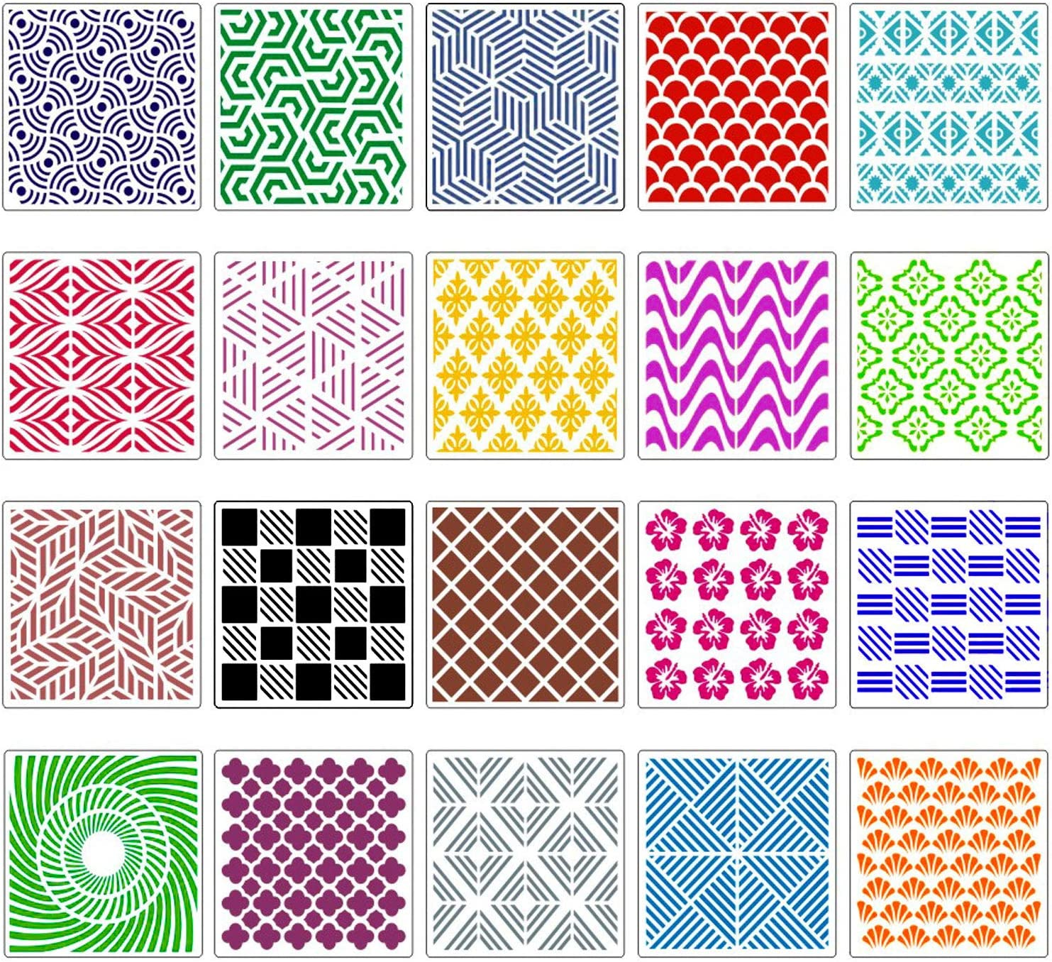 20-Pack Geometric Stencils 8 x 8 Inch Painting Templates for Scrapbooking Cookie Tile Furniture Wall Floor Decor Craft Drawing Tracing DIY Art Supplies