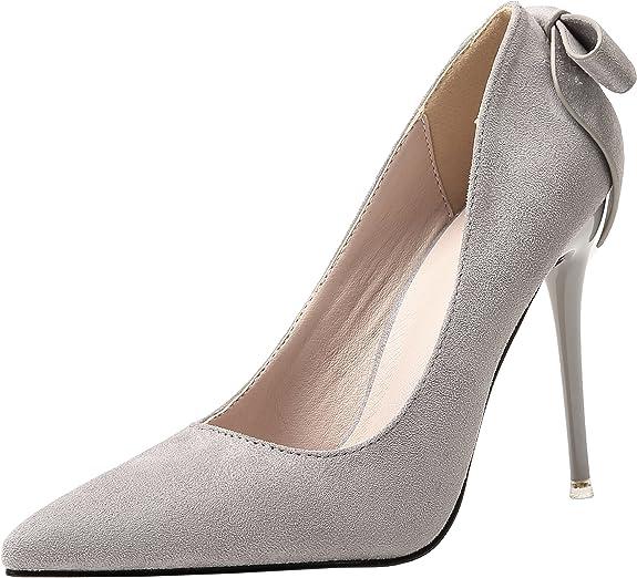 TALLA 41 EU. Boda Zapatos Para Mujer Ante Tacones altos Dulce Bowknot Stiletto Fiesta Zapatos de tacón De BIGTREE