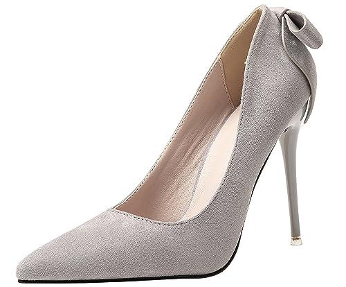 a52961b4c8 Boda Zapatos Para Mujer Ante Tacones altos Dulce Bowknot Stiletto Fiesta Zapatos  de tacón De BIGTREE  Amazon.es  Zapatos y complementos