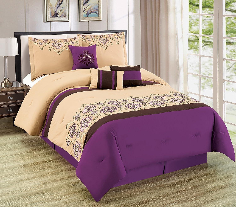 エレガントなホーム美しい高級7 Piece花パープルベージュ布団セットbed-in-a-bag寝具セットwith Accent Pillows # 178パープル Queen / Full B072SYFQ21Queen / Full