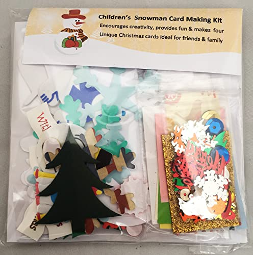 Christmas Snowman Card Making Kit - Makes 4 cards, includes cards & envelopes, embellishments, papers and shapes