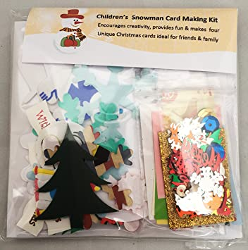 Christmas Snowman Card Making Kit   Makes 4 Cards, Includes Cards U0026  Envelopes, Embellishments