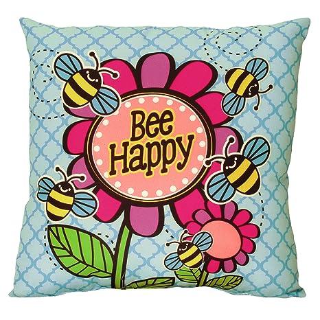Amazon.com: Spoontiques Bee Happy almohada: Home & Kitchen