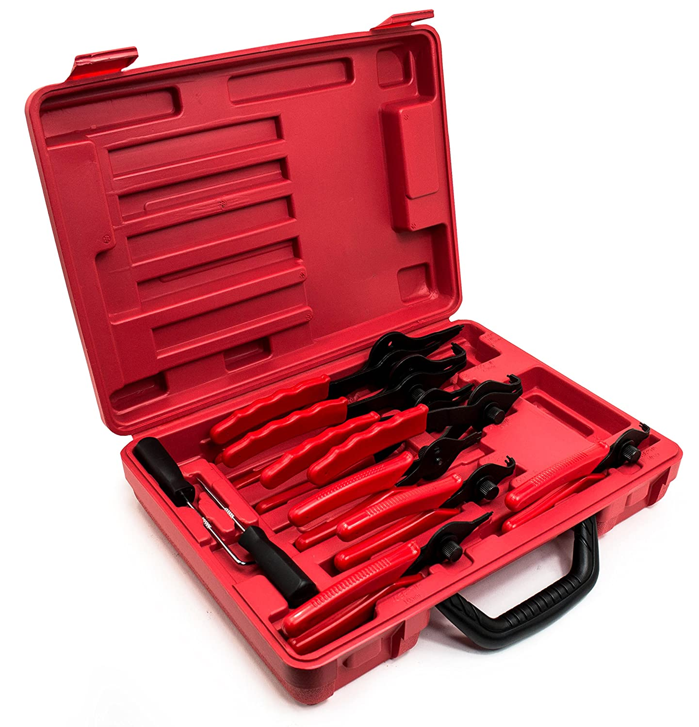 Bastex 11 piece Internal External Plier Set for Retaining Snap Ring and Circlip Removal Tools for Automobiles Lawnmowers and Farm Equipment Maintenance Easy Push nut E Spiral an Split ring Removal.